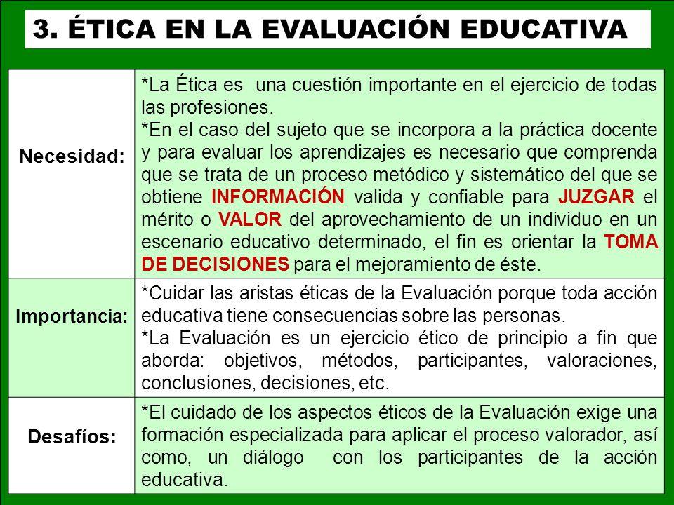 3. ÉTICA EN LA EVALUACIÓN EDUCATIVA Necesidad: *La Ética es una cuestión importante en el ejercicio de todas las profesiones. *En el caso del sujeto q