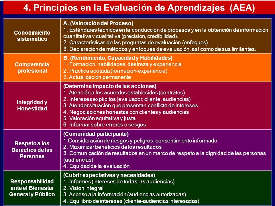 4. Principios en la Evaluación de Aprendizajes (AEA) Conocimiento sistemático A. (Valoración del Proceso) 1. Estándares técnicos en la conducción de p