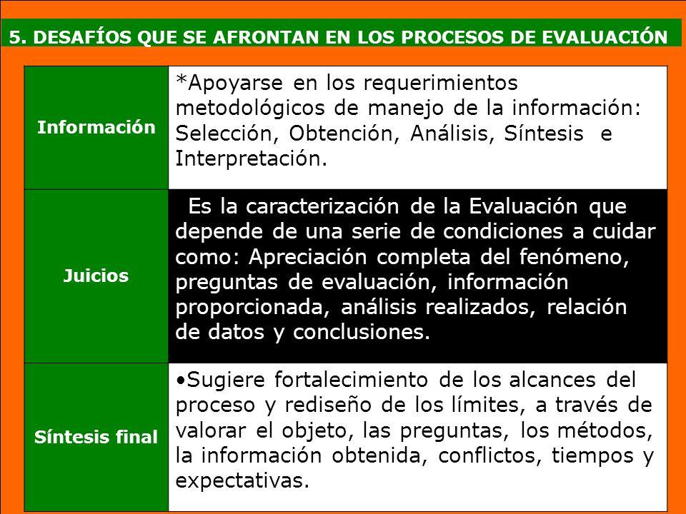 5. DESAFÍOS QUE SE AFRONTAN EN LOS PROCESOS DE EVALUACIÓN Información *Apoyarse en los requerimientos metodológicos de manejo de la información: Selec