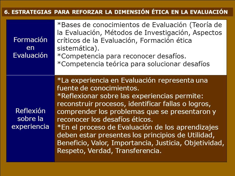 6. ESTRATEGIAS PARA REFORZAR LA DIMENSIÓN ÉTICA EN LA EVALUACIÓN Formación en Evaluación *Bases de conocimientos de Evaluación (Teoría de la Evaluació