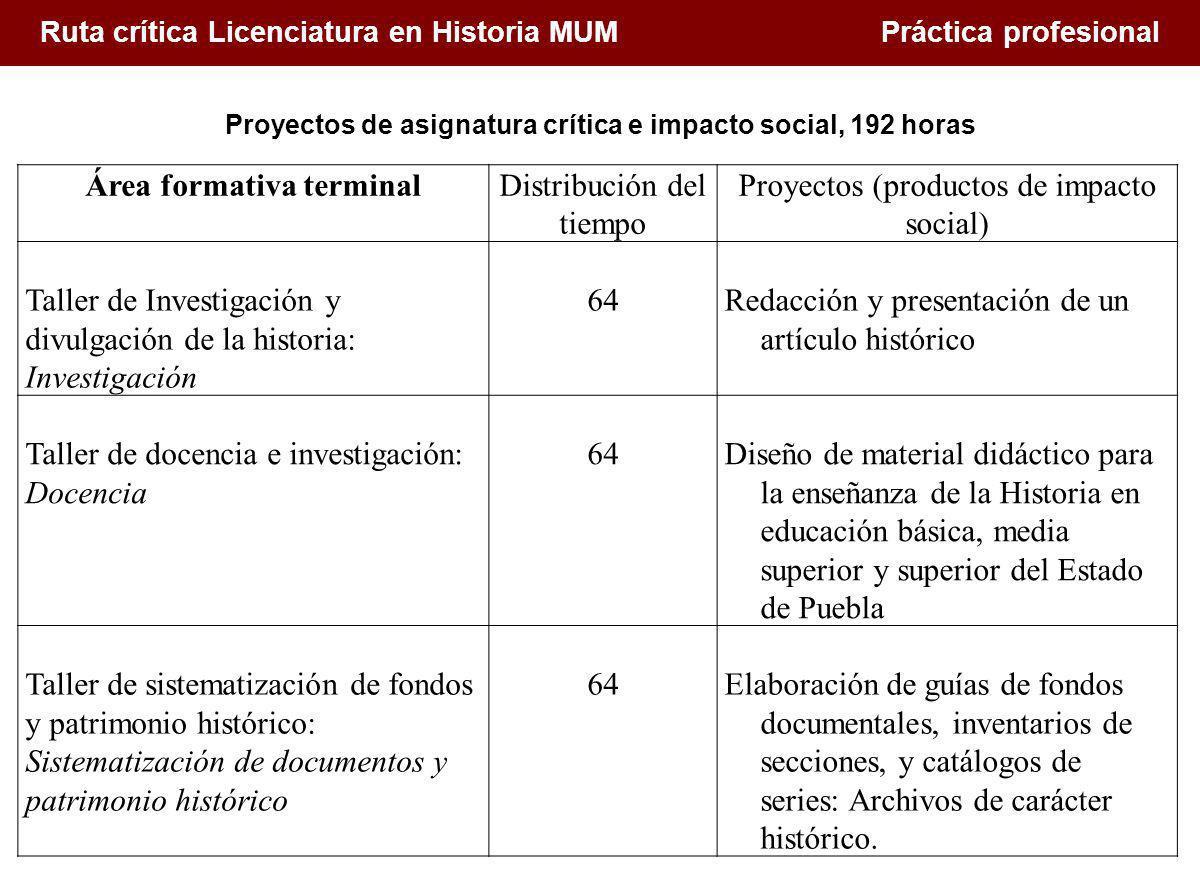1. Conceptualización de la docencia en el Siglo XXI Ruta crítica Licenciatura en Historia MUM Práctica profesional Área formativa terminalDistribución