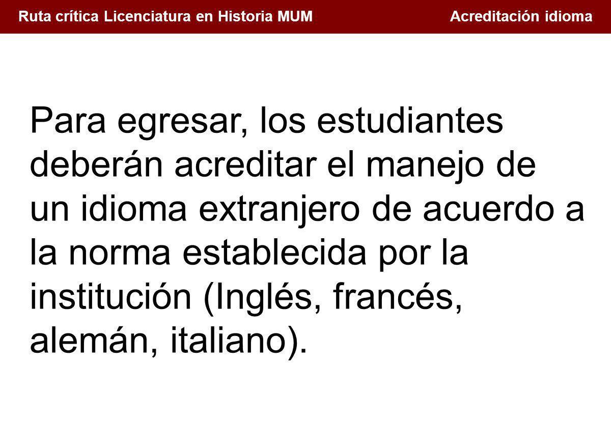 1. Conceptualización de la docencia en el Siglo XXI Ruta crítica Licenciatura en Historia MUM Acreditación idioma Para egresar, los estudiantes deberá