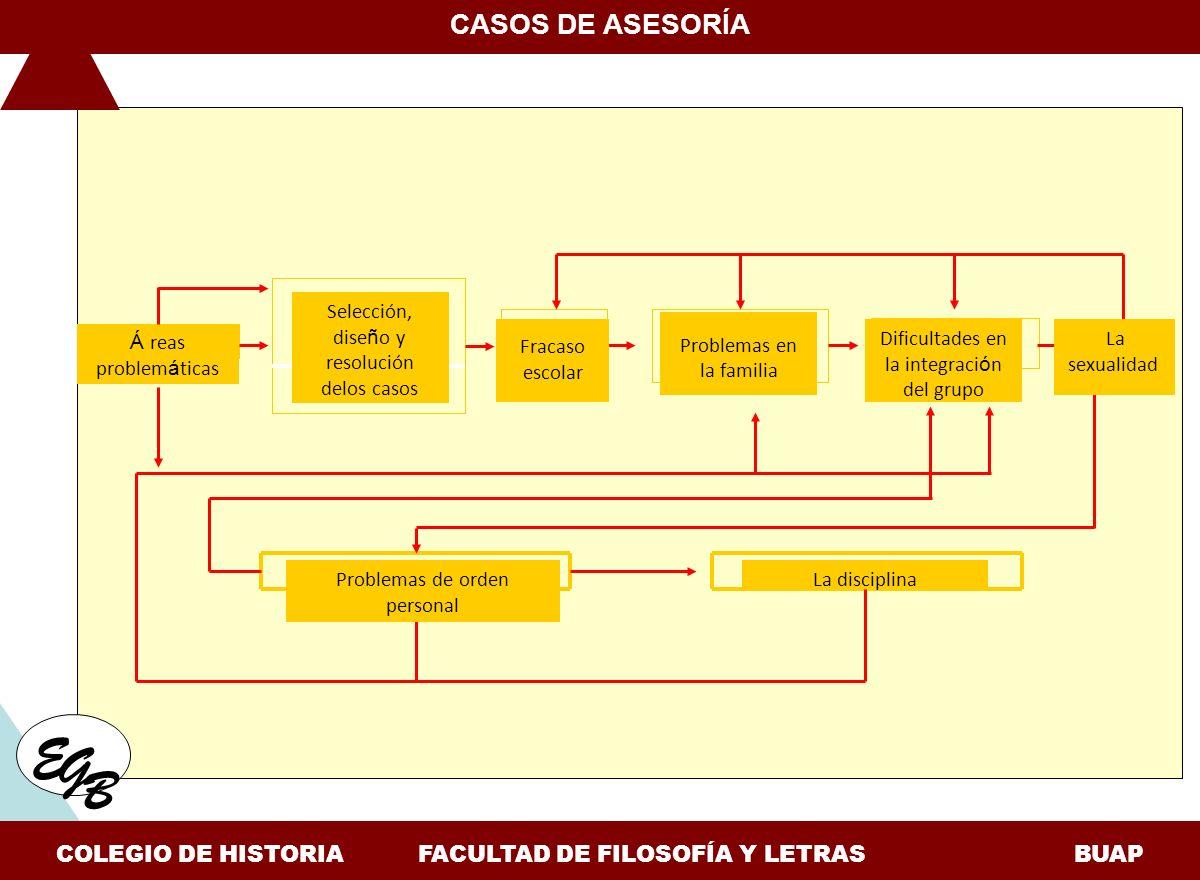 Á reas problem á ticas E G B CASOS DE ASESORÍA COLEGIO DE HISTORIA FACULTAD DE FILOSOFÍA Y LETRAS BUAP Selección, dise ñ o y resolución delos casos Fr