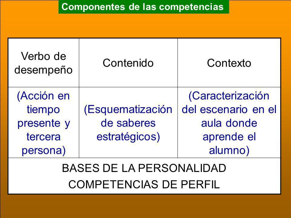 Componentes de las competencias Verbo de desempeño ContenidoContexto (Acción en tiempo presente y tercera persona) (Esquematización de saberes estraté