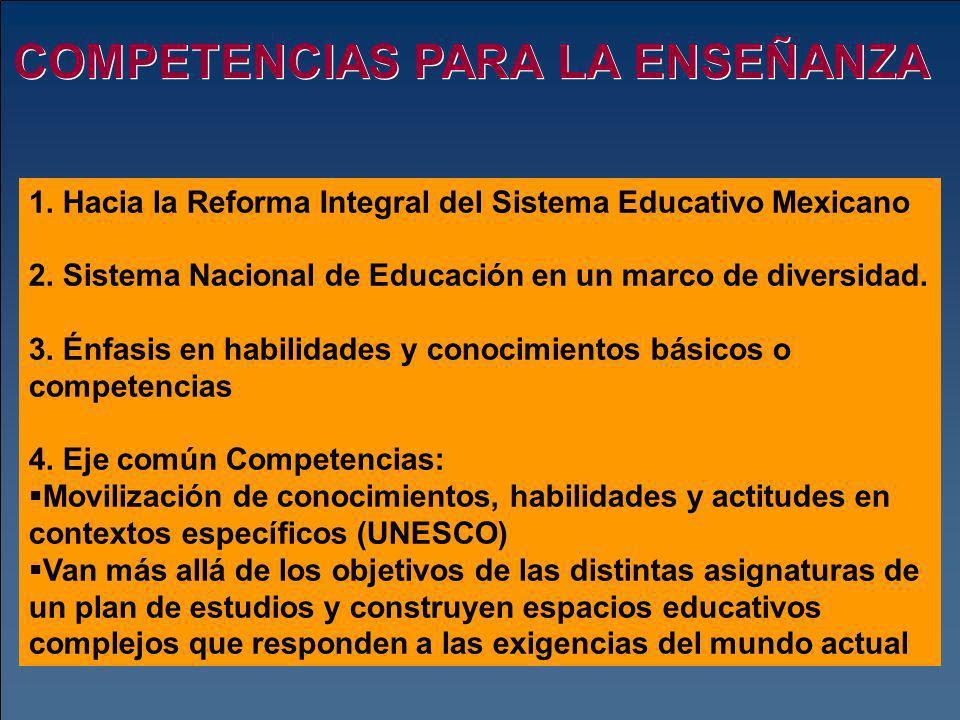 COMPETENCIAS PARA LA ENSEÑANZA 1. Hacia la Reforma Integral del Sistema Educativo Mexicano 2. Sistema Nacional de Educación en un marco de diversidad.