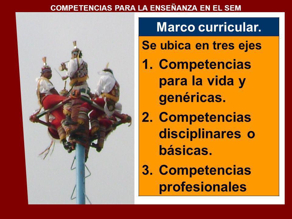 Marco curricular. Se ubica en tres ejes 1.Competencias para la vida y genéricas. 2.Competencias disciplinares o básicas. 3.Competencias profesionales
