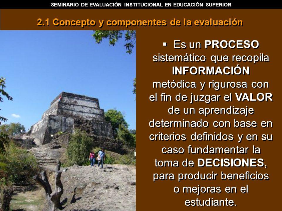 SEMINARIO DE EVALUACIÓN INSTITUCIONAL EN EDUCACIÓN SUPERIOR Es un PROCESO sistemático que recopila INFORMACIÓN metódica y rigurosa con el fin de juzga