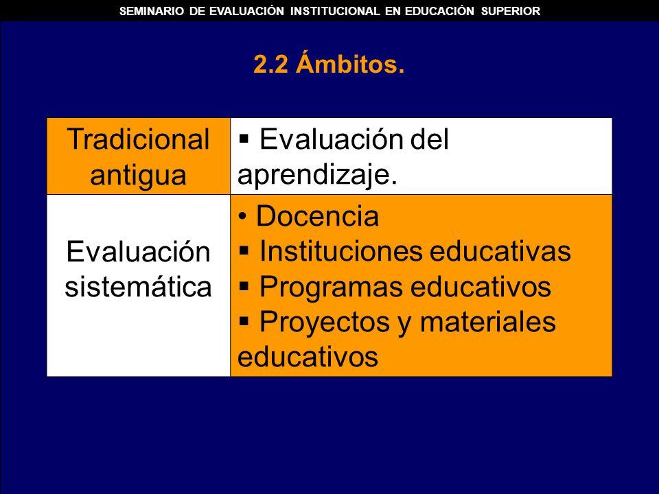 Tradicional antigua Evaluación del aprendizaje. Evaluación sistemática Docencia Instituciones educativas Programas educativos Proyectos y materiales e