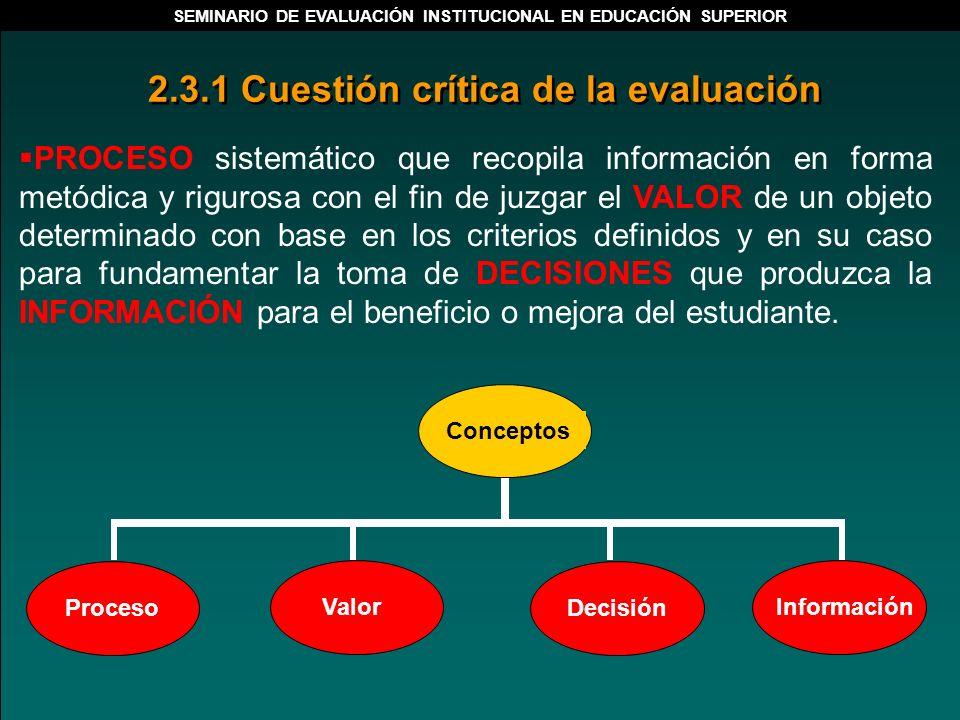 PROCESO sistemático que recopila información en forma metódica y rigurosa con el fin de juzgar el VALOR de un objeto determinado con base en los crite