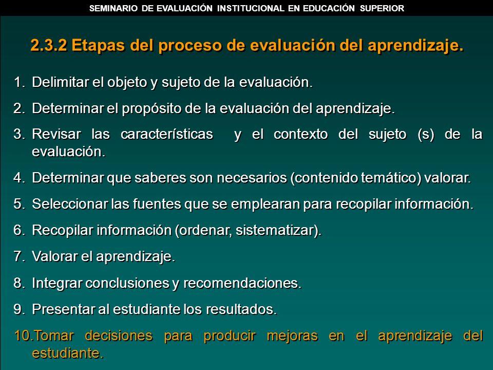 1.Delimitar el objeto y sujeto de la evaluación. 2.Determinar el propósito de la evaluación del aprendizaje. 3.Revisar las características y el contex