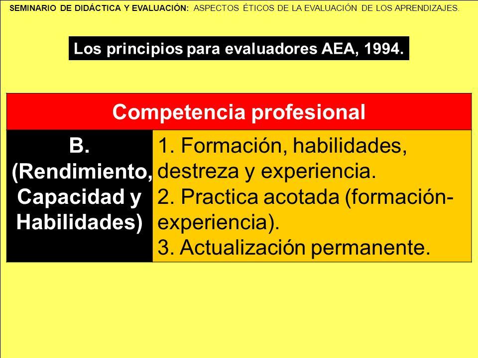 SEMINARIO DE DIDÁCTICA Y EVALUACIÓN: ASPECTOS ÉTICOS DE LA EVALUACIÓN DE LOS APRENDIZAJES. Los principios para evaluadores AEA, 1994. Competencia prof