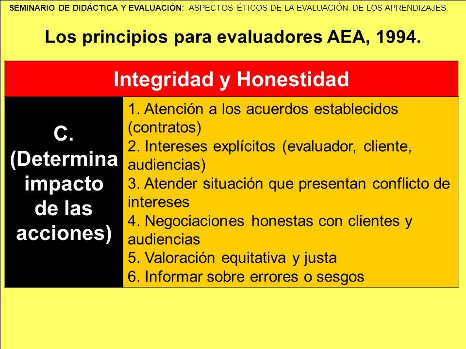 SEMINARIO DE DIDÁCTICA Y EVALUACIÓN: ASPECTOS ÉTICOS DE LA EVALUACIÓN DE LOS APRENDIZAJES. Los principios para evaluadores AEA, 1994. Integridad y Hon
