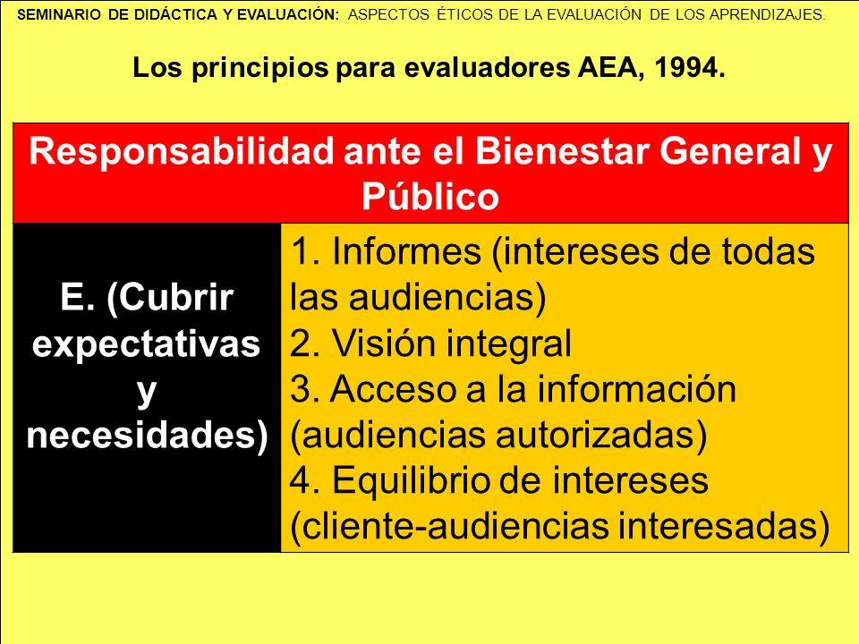 SEMINARIO DE DIDÁCTICA Y EVALUACIÓN: ASPECTOS ÉTICOS DE LA EVALUACIÓN DE LOS APRENDIZAJES. Los principios para evaluadores AEA, 1994. Responsabilidad