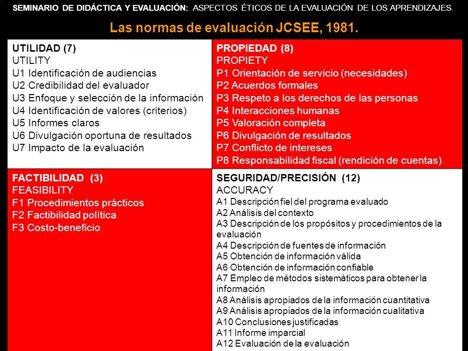 SEMINARIO DE DIDÁCTICA Y EVALUACIÓN: ASPECTOS ÉTICOS DE LA EVALUACIÓN DE LOS APRENDIZAJES. Las normas de evaluación JCSEE, 1981. UTILIDAD (7) UTILITY