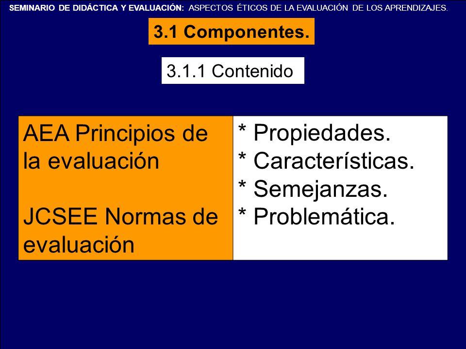 SEMINARIO DE DIDÁCTICA Y EVALUACIÓN: ASPECTOS ÉTICOS DE LA EVALUACIÓN DE LOS APRENDIZAJES. 3.1.1 Contenido AEA Principios de la evaluación JCSEE Norma