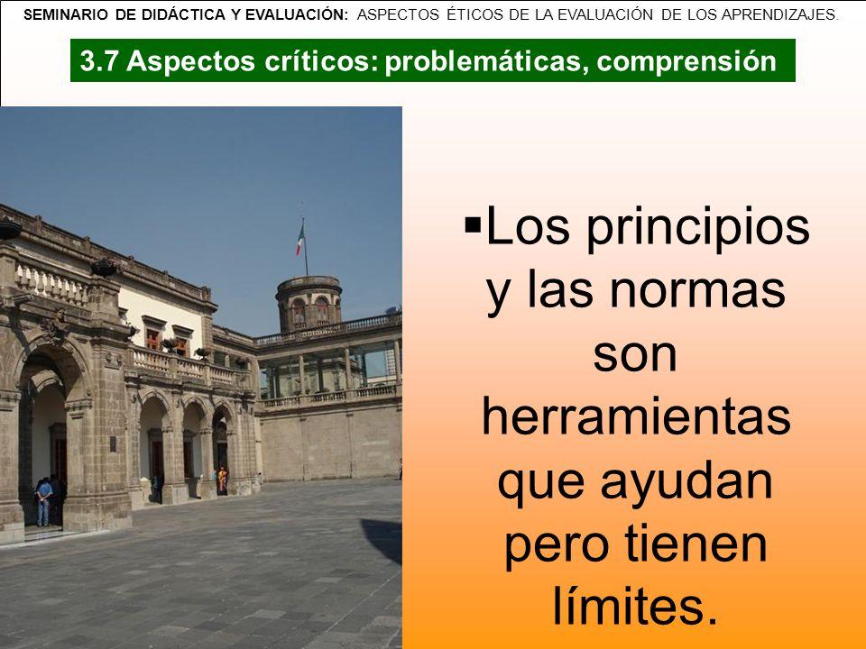 SEMINARIO DE DIDÁCTICA Y EVALUACIÓN: ASPECTOS ÉTICOS DE LA EVALUACIÓN DE LOS APRENDIZAJES. Los principios y las normas son herramientas que ayudan per