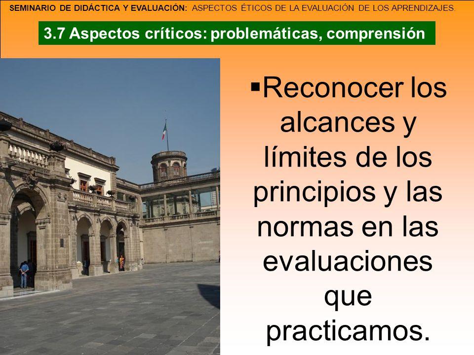 SEMINARIO DE DIDÁCTICA Y EVALUACIÓN: ASPECTOS ÉTICOS DE LA EVALUACIÓN DE LOS APRENDIZAJES. Reconocer los alcances y límites de los principios y las no