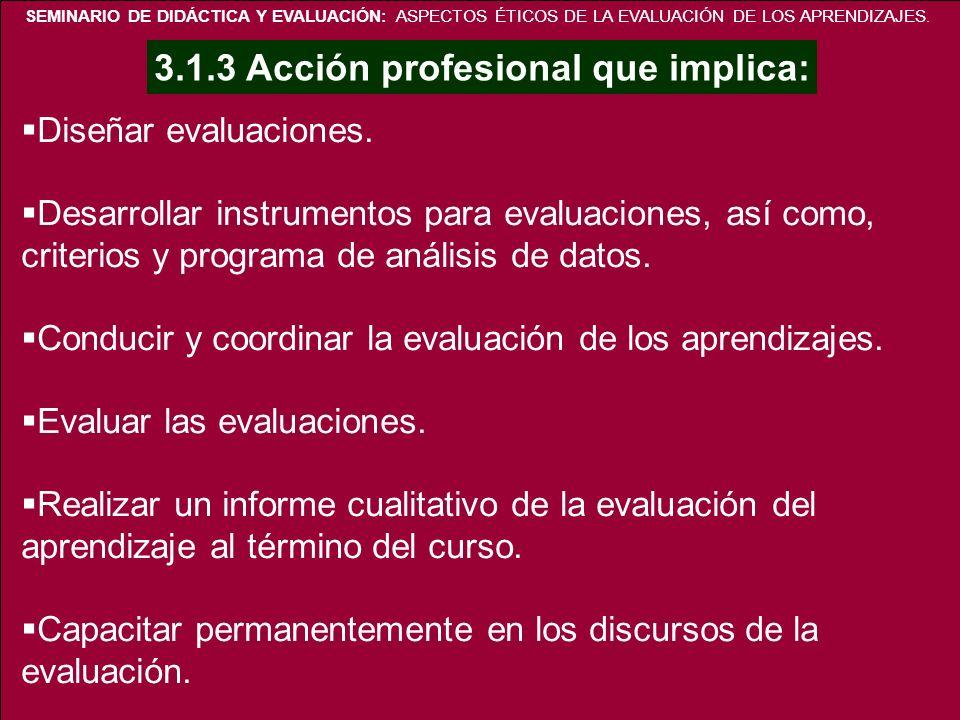 SEMINARIO DE DIDÁCTICA Y EVALUACIÓN: ASPECTOS ÉTICOS DE LA EVALUACIÓN DE LOS APRENDIZAJES. Diseñar evaluaciones. Desarrollar instrumentos para evaluac