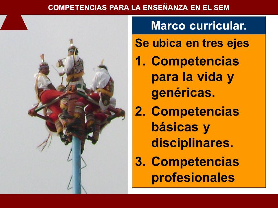 Marco curricular. Se ubica en tres ejes 1.Competencias para la vida y genéricas. 2.Competencias básicas y disciplinares. 3.Competencias profesionales