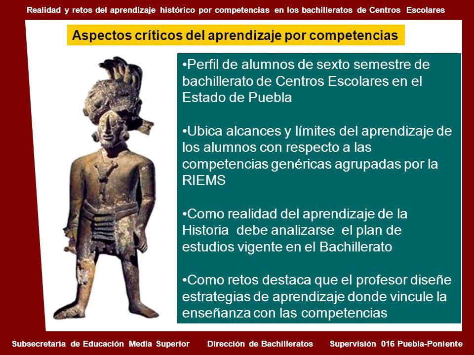 Perfil de alumnos de sexto semestre de bachillerato de Centros Escolares en el Estado de Puebla Ubica alcances y límites del aprendizaje de los alumno