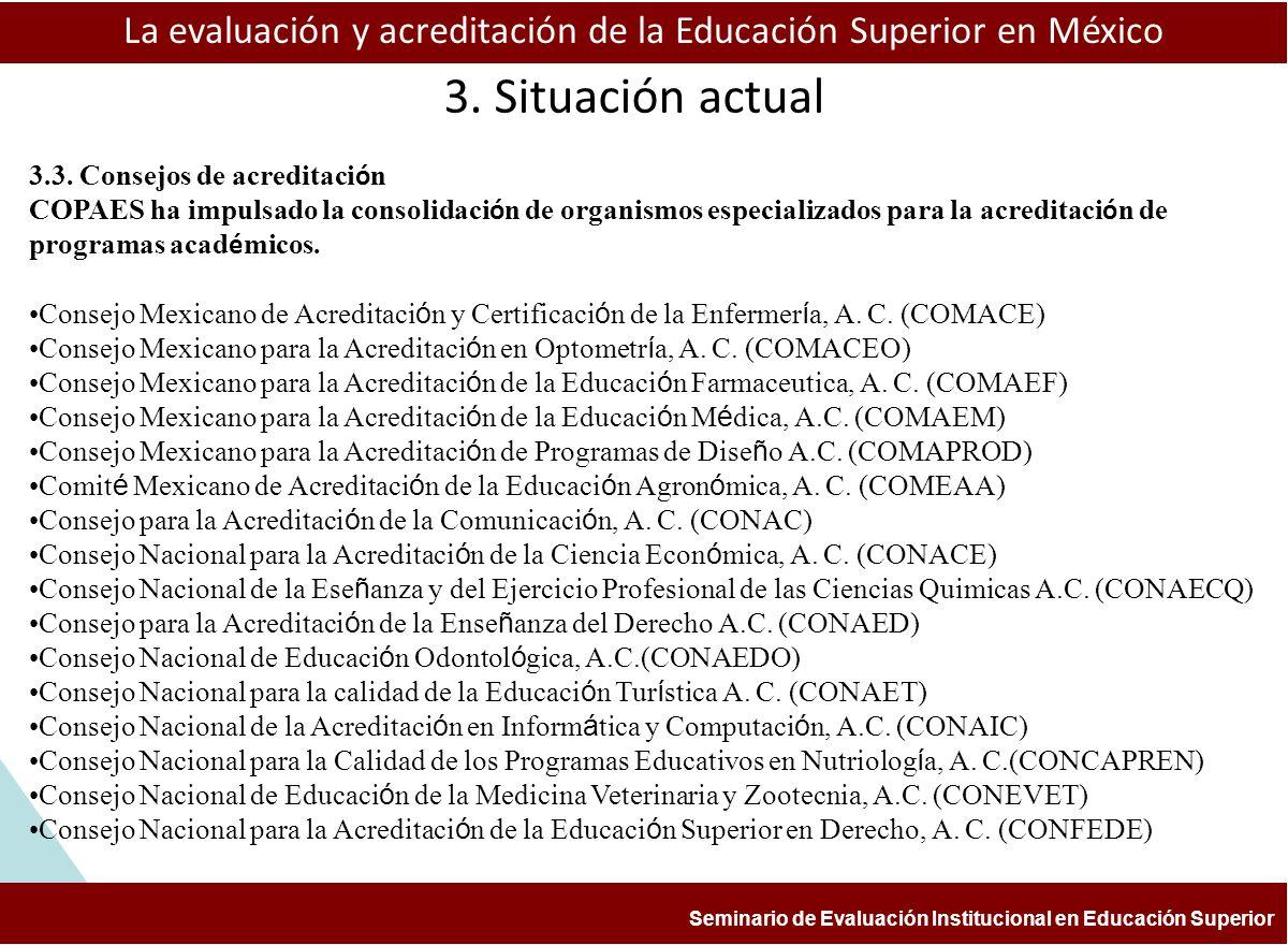ESTUDIOS Y EXPERIENCIAS DE EVALUACIÓN APLICADAS A LA ENSEÑANZA DE LA HISTORIA FACULTAD DE FILOSOFÍA Y LETRAS, BUAP COLEGIO DE HISTORIA aprendizaje La evaluación y acreditación de la Educación Superior en México Seminario de Evaluación Institucional en Educación Superior 3.4.