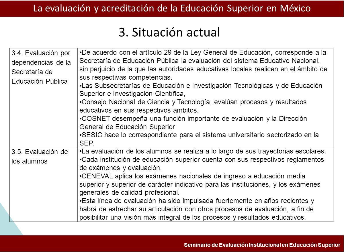 ESTUDIOS Y EXPERIENCIAS DE EVALUACIÓN APLICADAS A LA ENSEÑANZA DE LA HISTORIA FACULTAD DE FILOSOFÍA Y LETRAS, BUAP COLEGIO DE HISTORIA aprendizaje La evaluación y acreditación de la Educación Superior en México Seminario de Evaluación Institucional en Educación Superior 3.6.