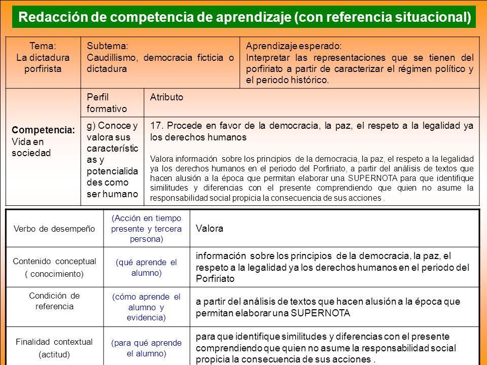 Redacción de competencia de aprendizaje (con referencia situacional) Verbo de desempeño (Acción en tiempo presente y tercera persona) Valora Contenido