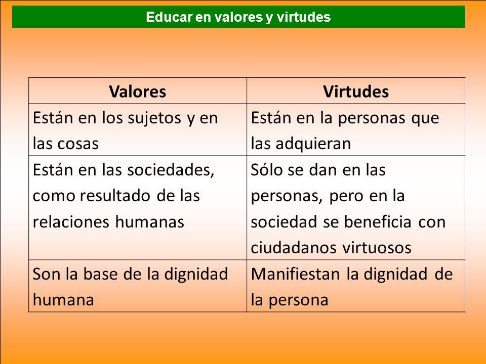 Educar en valores y virtudes ValoresVirtudes Están en los sujetos y en las cosas Están en la personas que las adquieran Están en las sociedades, como