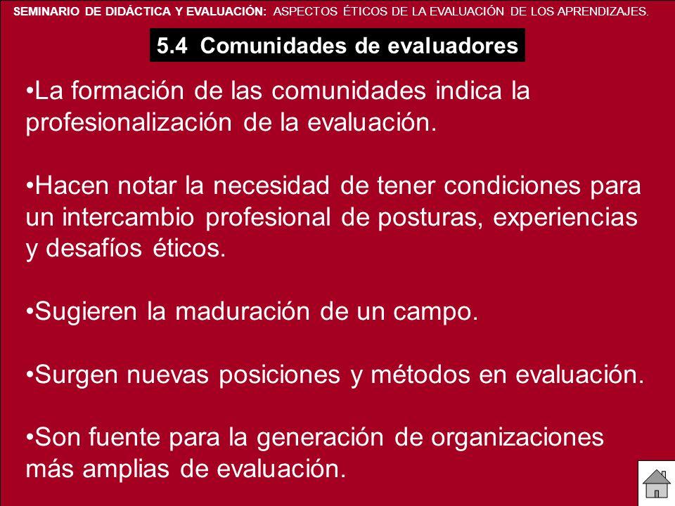 SEMINARIO DE DIDÁCTICA Y EVALUACIÓN: ASPECTOS ÉTICOS DE LA EVALUACIÓN DE LOS APRENDIZAJES. 5.4 Comunidades de evaluadores La formación de las comunida