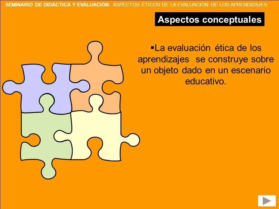 SEMINARIO DE DIDÁCTICA Y EVALUACIÓN: ASPECTOS ÉTICOS DE LA EVALUACIÓN DE LOS APRENDIZAJES. Aspectos conceptuales La evaluación ética de los aprendizaj