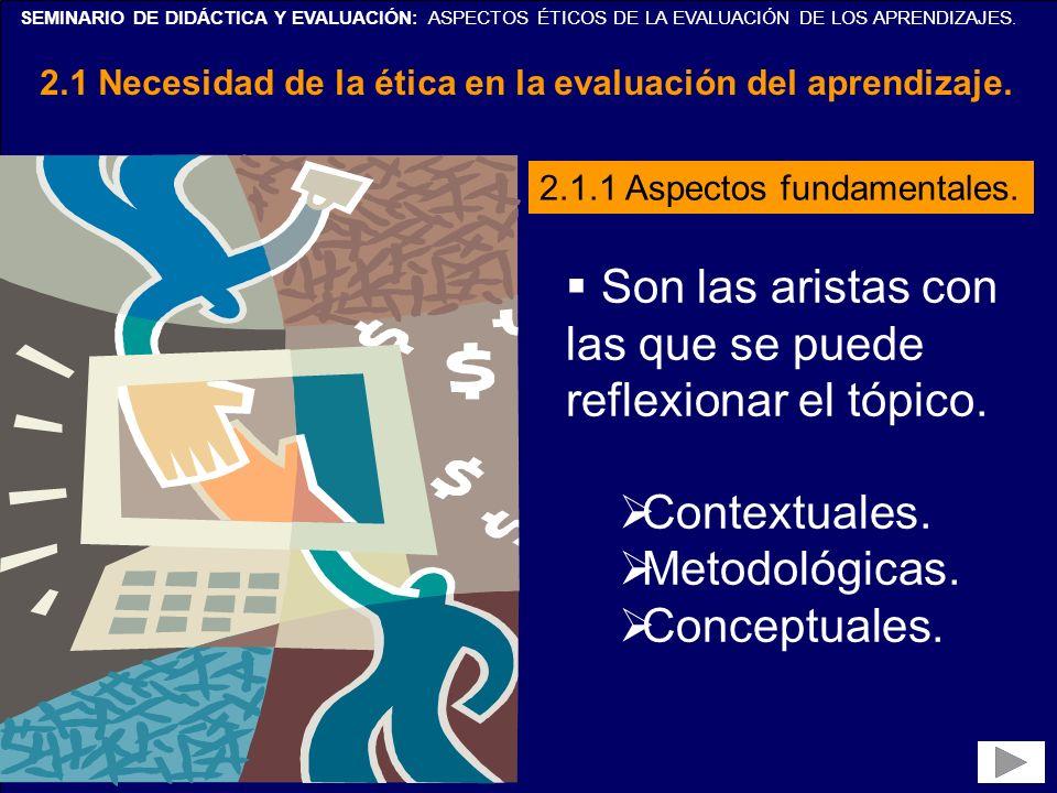 SEMINARIO DE DIDÁCTICA Y EVALUACIÓN: ASPECTOS ÉTICOS DE LA EVALUACIÓN DE LOS APRENDIZAJES. 2.1 Necesidad de la ética en la evaluación del aprendizaje.