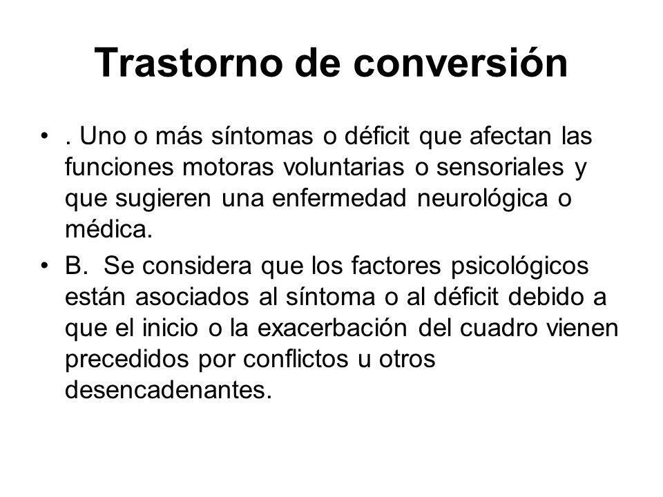 Trastorno de conversión. Uno o más síntomas o déficit que afectan las funciones motoras voluntarias o sensoriales y que sugieren una enfermedad neurol