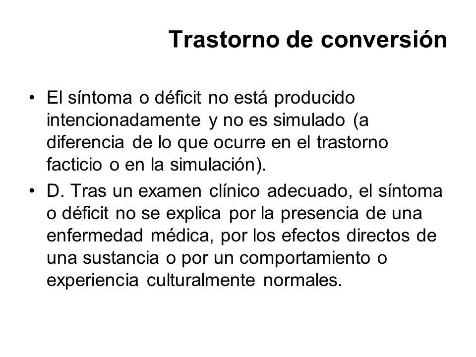 Trastorno de conversión El síntoma o déficit no está producido intencionadamente y no es simulado (a diferencia de lo que ocurre en el trastorno facti