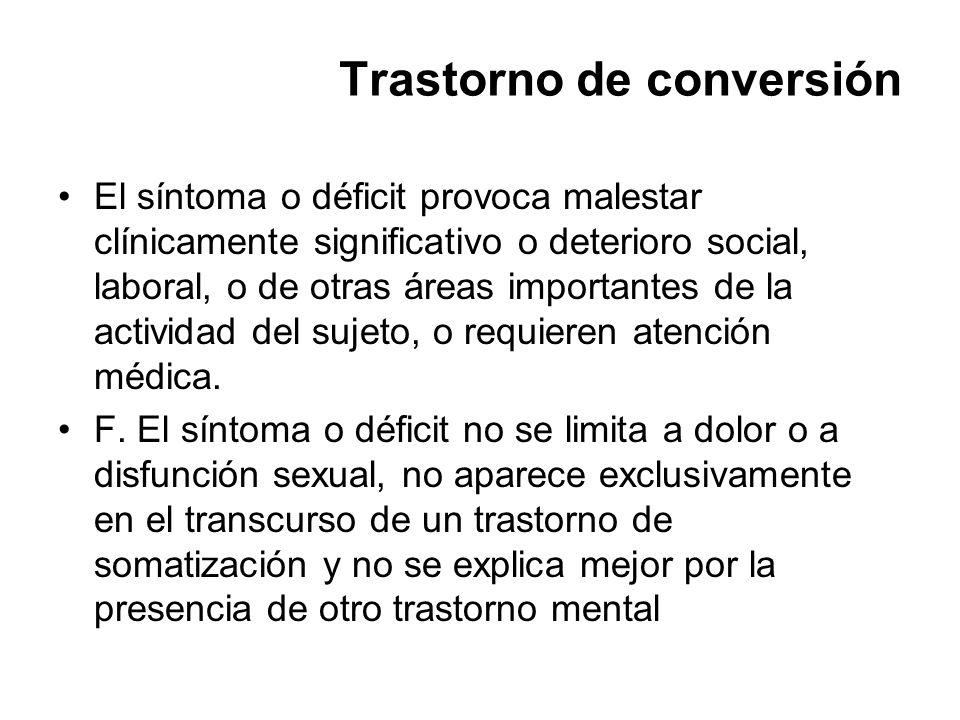 Trastorno de conversión El síntoma o déficit provoca malestar clínicamente significativo o deterioro social, laboral, o de otras áreas importantes de