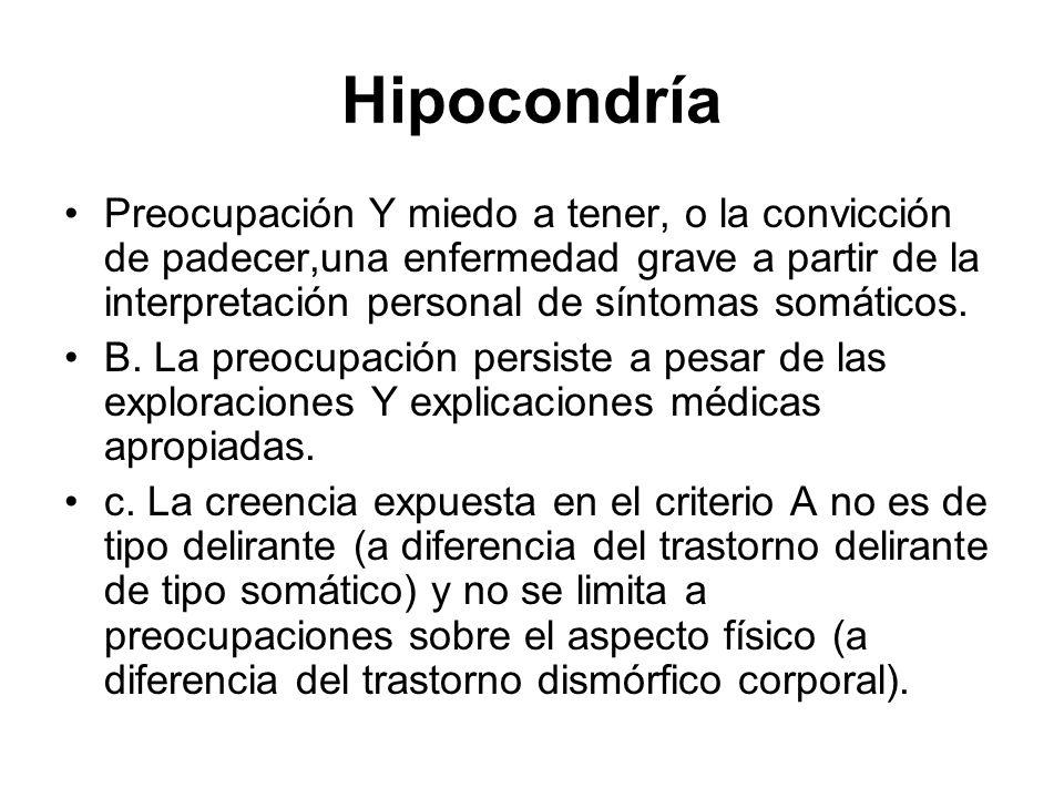 Hipocondría Preocupación Y miedo a tener, o la convicción de padecer,una enfermedad grave a partir de la interpretación personal de síntomas somáticos