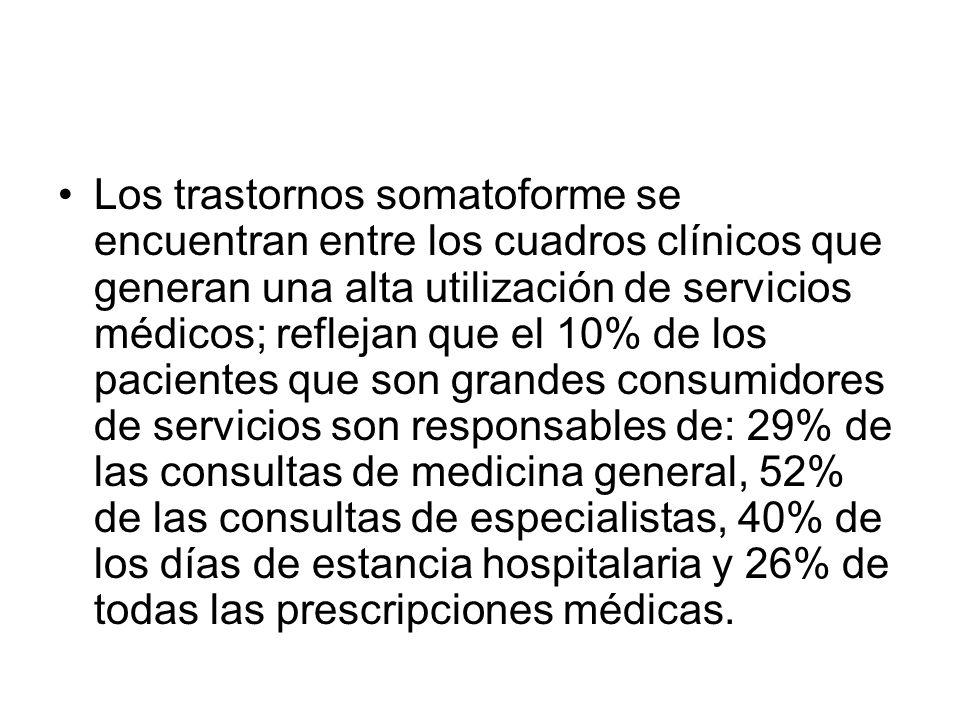 Los trastornos somatoforme se encuentran entre los cuadros clínicos que generan una alta utilización de servicios médicos; reflejan que el 10% de los