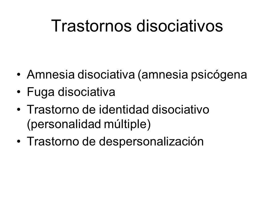 Trastornos disociativos Amnesia disociativa (amnesia psicógena Fuga disociativa Trastorno de identidad disociativo (personalidad múltiple) Trastorno d