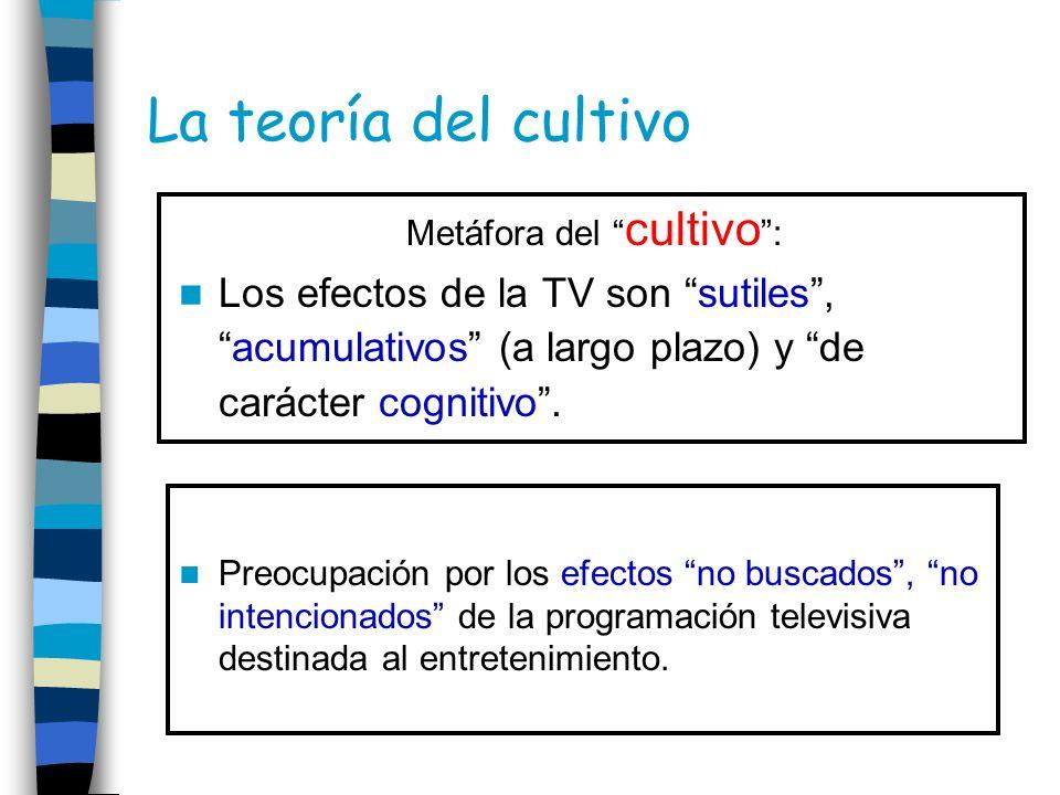 La teoría del cultivo Metáfora del cultivo : Los efectos de la TV son sutiles,acumulativos (a largo plazo) y de carácter cognitivo. Preocupación por l