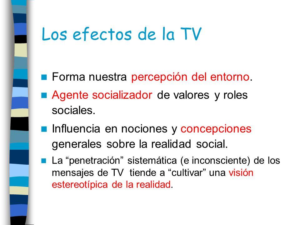Los efectos de la TV Forma nuestra percepción del entorno. Agente socializador de valores y roles sociales. Influencia en nociones y concepciones gene