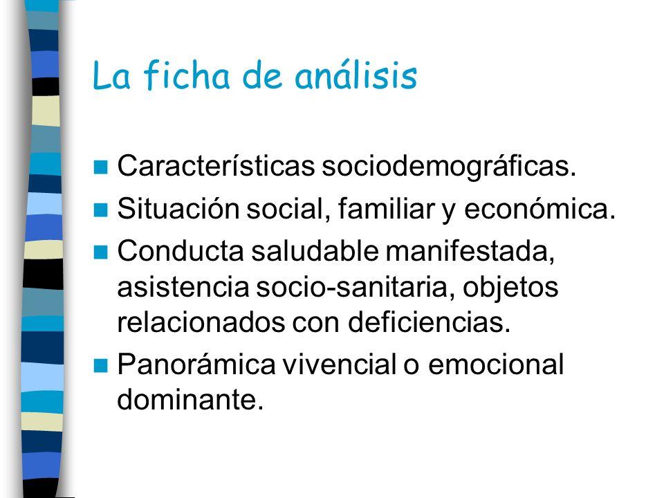 La ficha de análisis Características sociodemográficas. Situación social, familiar y económica. Conducta saludable manifestada, asistencia socio-sanit