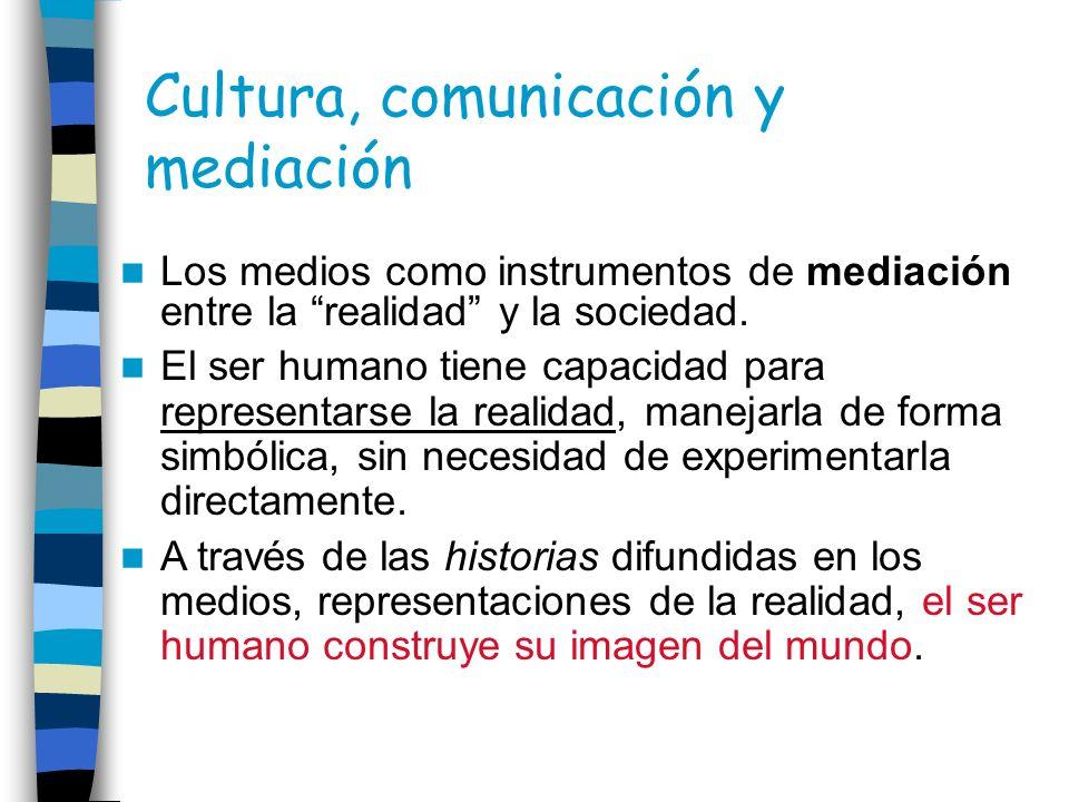 Los medios como instrumentos de mediación entre la realidad y la sociedad. El ser humano tiene capacidad para representarse la realidad, manejarla de