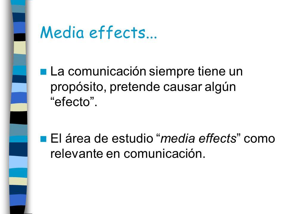 Media effects... La comunicación siempre tiene un propósito, pretende causar algún efecto. El área de estudio media effects como relevante en comunica