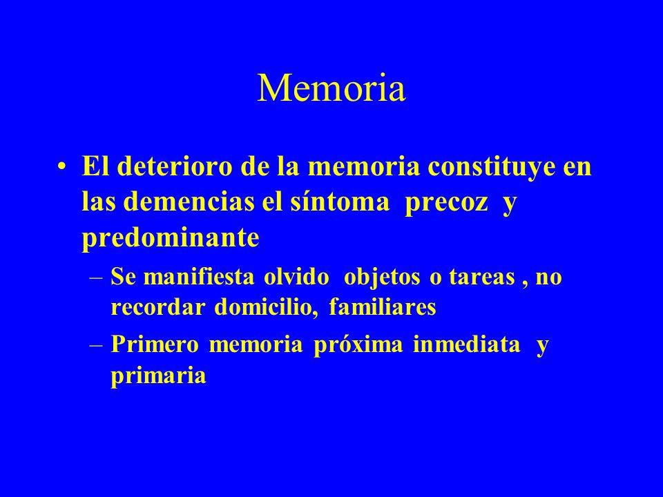Memoria El deterioro de la memoria constituye en las demencias el síntoma precoz y predominante –Se manifiesta olvido objetos o tareas, no recordar do