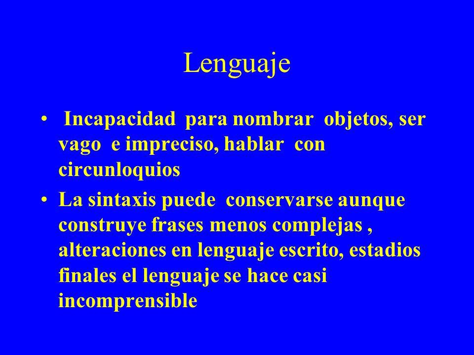 Lenguaje Incapacidad para nombrar objetos, ser vago e impreciso, hablar con circunloquios La sintaxis puede conservarse aunque construye frases menos
