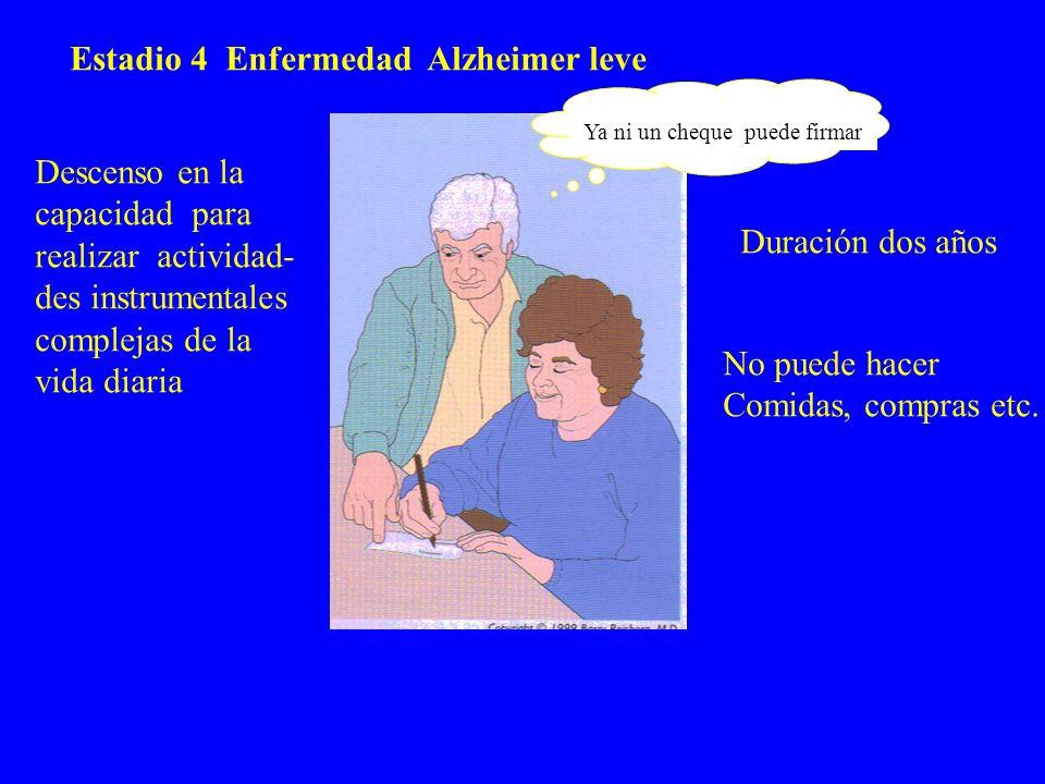 Estadio 4 Enfermedad Alzheimer leve Descenso en la capacidad para realizar actividad- des instrumentales complejas de la vida diaria Ya ni un cheque p