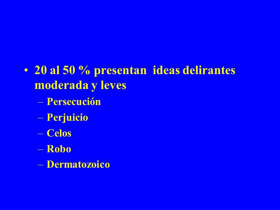 20 al 50 % presentan ideas delirantes moderada y leves –Persecución –Perjuicio –Celos –Robo –Dermatozoico
