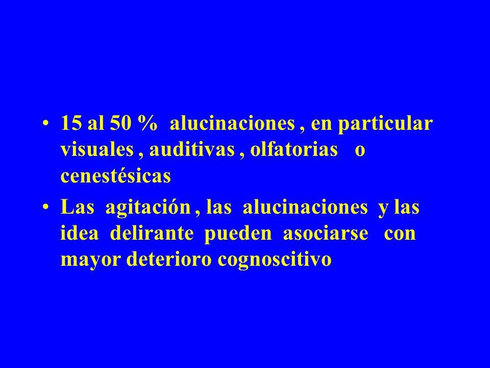 15 al 50 % alucinaciones, en particular visuales, auditivas, olfatorias o cenestésicas Las agitación, las alucinaciones y las idea delirante pueden as