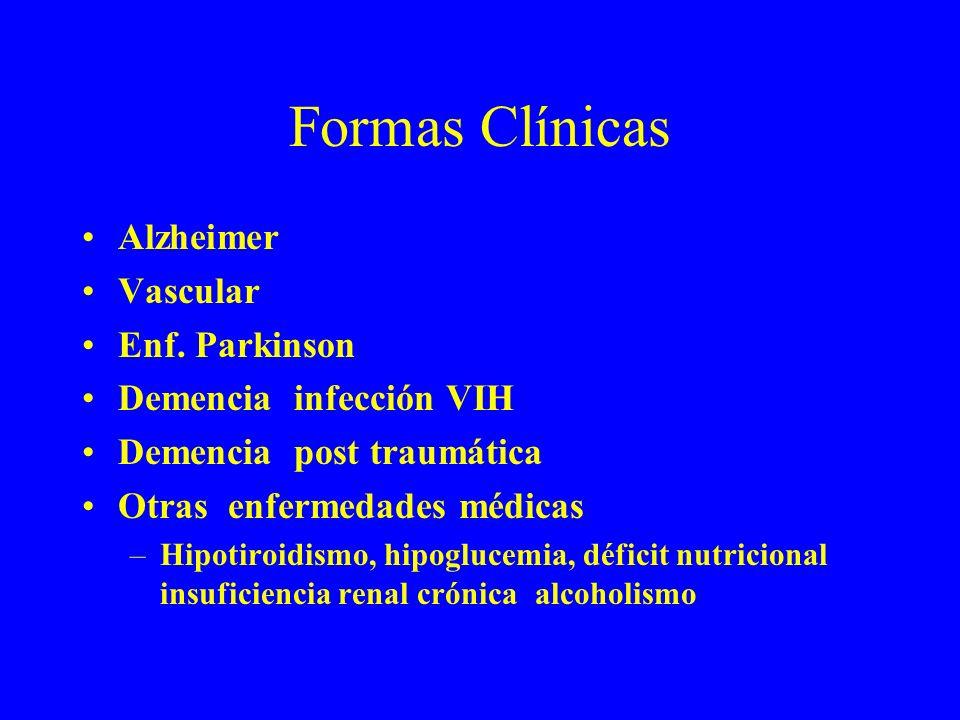Formas Clínicas Alzheimer Vascular Enf. Parkinson Demencia infección VIH Demencia post traumática Otras enfermedades médicas –Hipotiroidismo, hipogluc