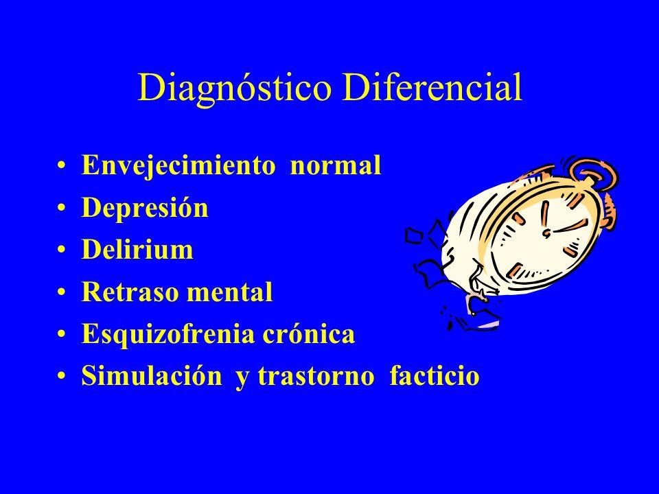 Diagnóstico Diferencial Envejecimiento normal Depresión Delirium Retraso mental Esquizofrenia crónica Simulación y trastorno facticio