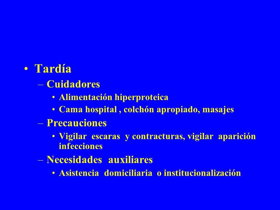 Tardía –Cuidadores Alimentación hiperproteica Cama hospital, colchón apropiado, masajes –Precauciones Vigilar escaras y contracturas, vigilar aparició